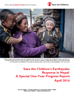 Save the Children's Earthquake Response in Nepal: A Special One-Year Progress Report