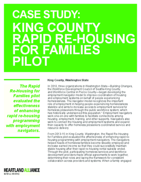 Case Study: King County Rapid Re-Housing for Families Pilot