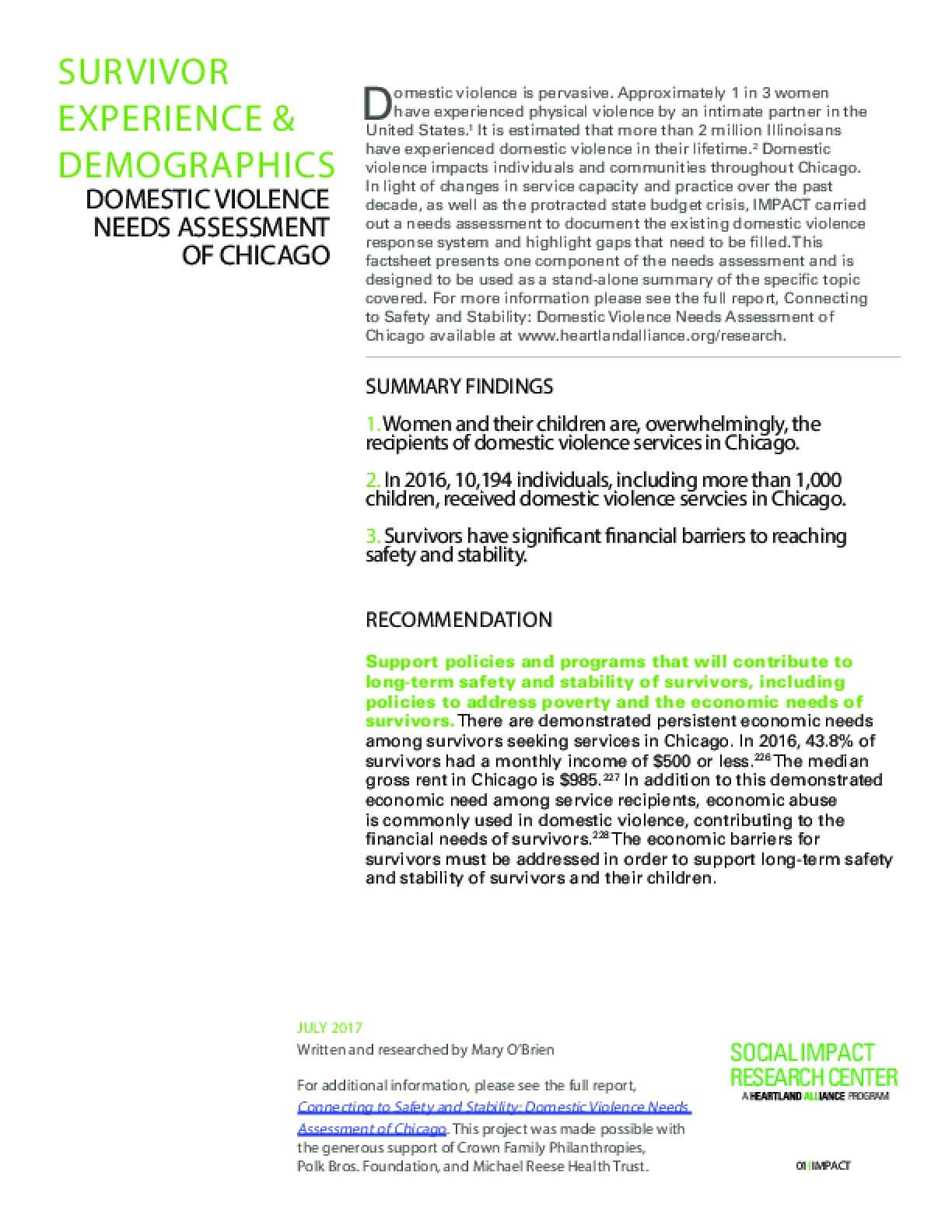 FactSheet: Survivor Demographics (DV Landscape)